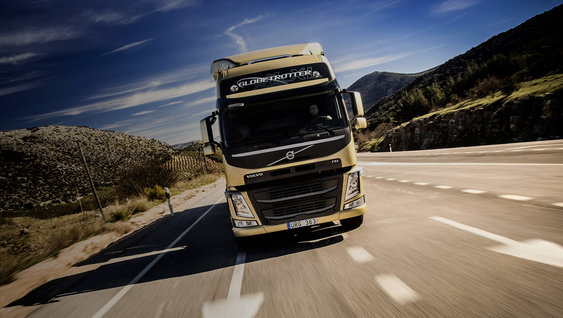 volvo trucks on the road