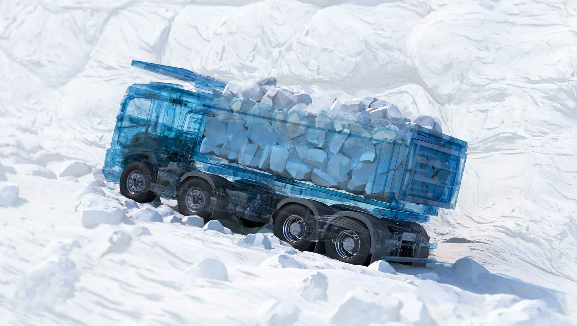 3D graphic illustration of the new Volvo FMX transporting rubble